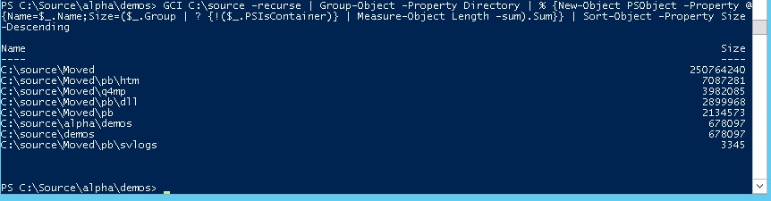 PowerShell : Get Folder Size on Disk, One-Line Command